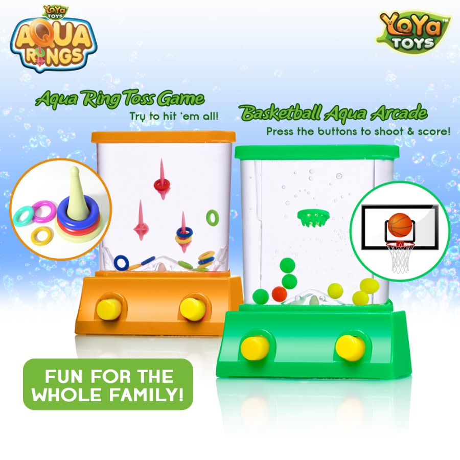 Aqua Rings By YoYa Toys- 2 Pack Set Of A Fish Ring Toss And A Basketball Aqua Arcade Toy In 2 Different Colors By YoYa Toys