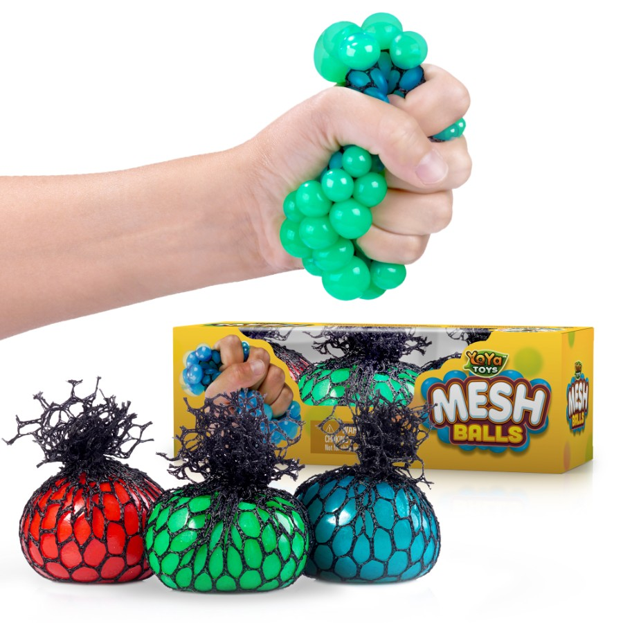 Mesh Stress Balls by YoYa Toys - 3 Pack - Non Toxic Rubber Sensory Balls -Ideal For Stress _ Anxiety Relief, Enhanced Blood Circulation, Special Ne