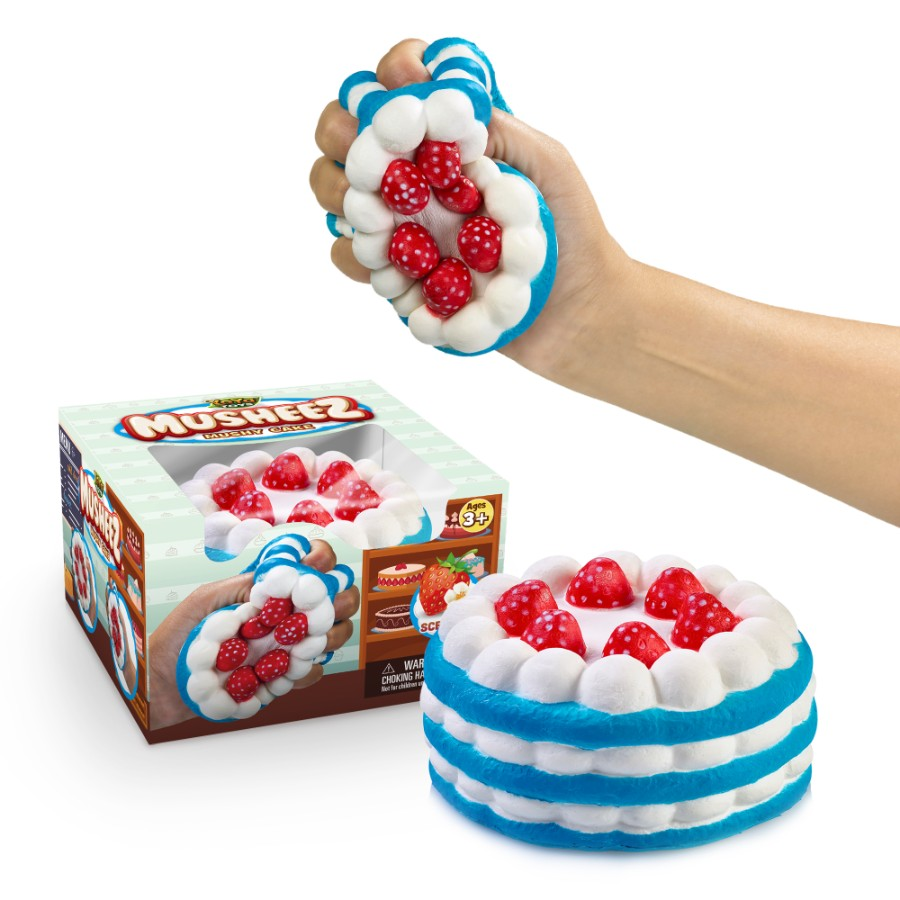 Mushy Cake By YoYa Toys - Stress Relief Squishy Toy Strawberry Cake Design - Super Slow Rising, Soft, Relaxing, Anti-Anxiety Squeeze _ Fidget Toy