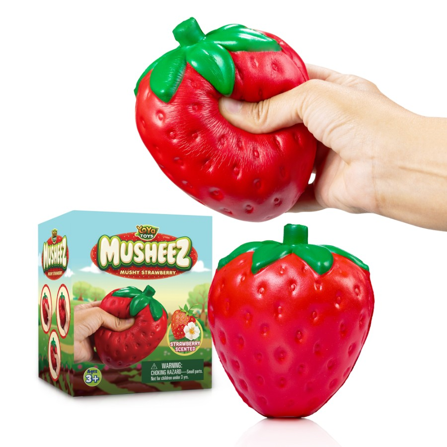 Mushy Strawberry by YoYa Toys -Stress Relief Squishy Strawberry Toy - Jumbo Size, Super Slow Rising