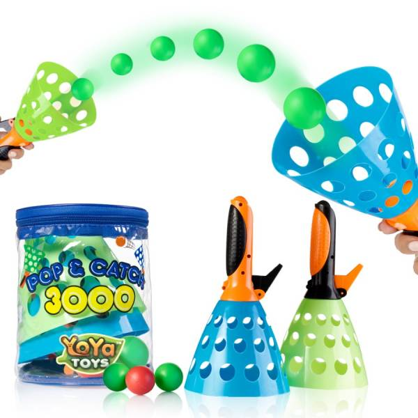 Pop _ Catch Launcher Basket With 3 Balls by YoYa Toys - Indoors _ Outdoors -Promote Fine Motor Skills