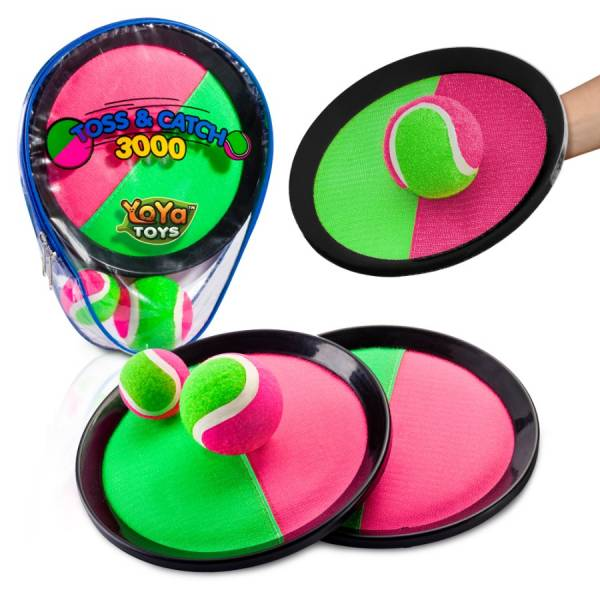 Toss _ Catch 3000 Ball Game By YoYa Toys Pink _ Green Disc Paddles 2 Balls Big _ Small For Outdoor Summer Fun, Parties, Kids, Adults _ Family