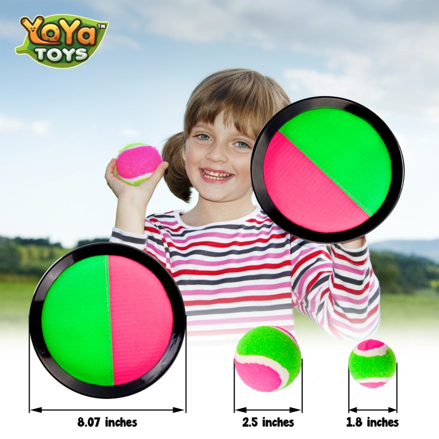 Quality Material Toss and Catch Set of 2 Paddles and 2 Balls Soft Ball Ultimate Fun for Kids for Kids UpgradeWith Toss and Catch Ball Game Set |